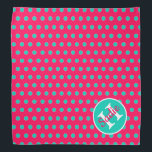 """Summer Pink and Island Sea Polka Dot Monogram Bandana<br><div class=""""desc"""">Cute polka dots in tropical Island Sea turquoise on a background of bright Summer Pink.  Personalize the matching monogram with your choice of name and initial.</div>"""