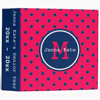 Summer Pink and Navy Blue Polka Dot Monogram Binder