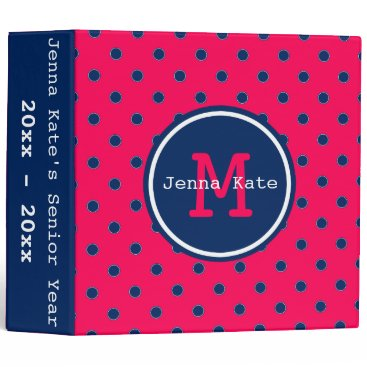 Aztec Themed Summer Pink and Navy Blue Polka Dot Monogram Binder
