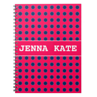 Summer Pink and Navy Blue Polka Dot Personalized Spiral Notebook
