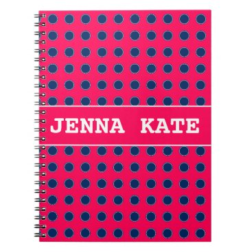 Aztec Themed Summer Pink and Navy Blue Polka Dot Personalized Spiral Notebook