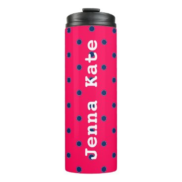 Aztec Themed Summer Pink and Navy Blue Polka Dot Personalized Thermal Tumbler