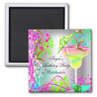 Summer Pink Birthday Party Colorful Cocktail Magnet