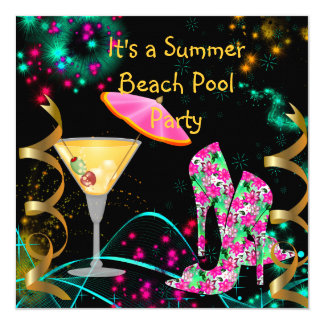 Summer Pink Black Beach Pool Party Card