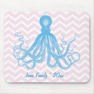 Summer Pink & Blue Nautical ZigZag Octopus Custom Mouse Pad