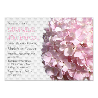 Summer Pink Floral Surprise Birthday Party 5x7 Paper Invitation Card