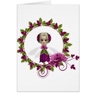 Summer Pink Rose Fae Card