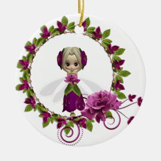 Summer Pink Rose Fae Ceramic Ornament