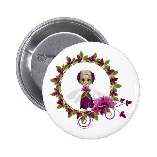 Summer Pink Rose Fae Pinback Button