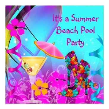 Beach Themed Summer Pink Teal Beach Cocktail Party Card