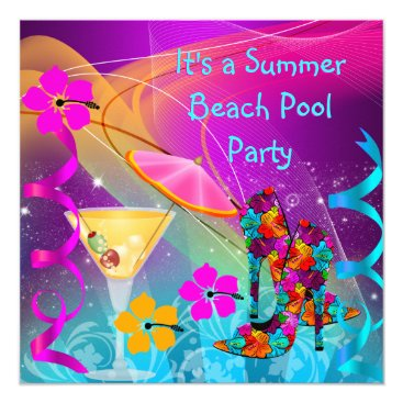 Beach Themed Summer Pink Teal Beach Pool Cocktail Party Card