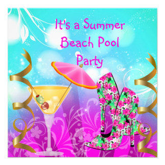 Summer Pink Teal Beach Pool Party Invitations