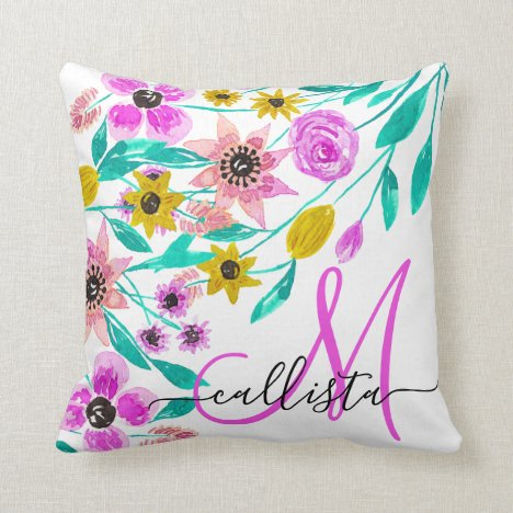 Summer Pink Yellow Floral Watercolor Monogram Throw Pillow