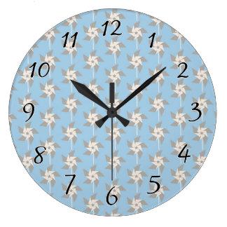 Summer Pinwheels Large Clock