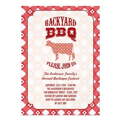 Backyard Cookout Menu: Summer Plaid Backyard Barbecue Cookout BBQ Party 5x7 Paper