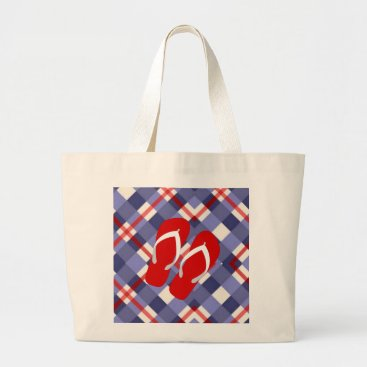 Beach Themed Summer Plaid with Red Flip Flops Large Tote Bag