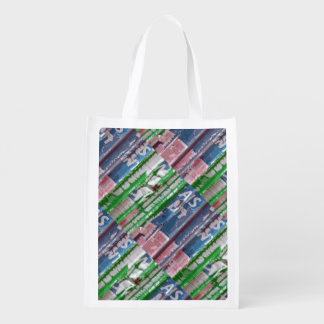 Summer Pleats for the Golf Course Reusable Grocery Bags