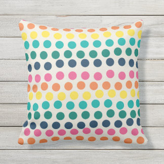 Summer Polka Dots Colorful Outdoor Pillow