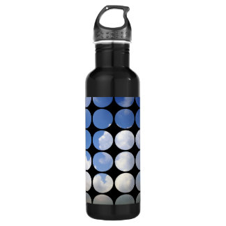 Summer Polka Dots White Clouds + Blue Skies Water Bottle