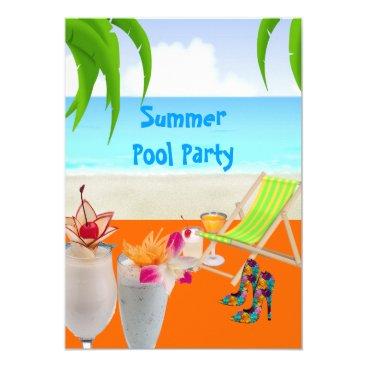 Beach Themed Summer Pool Beach Party Cocktails Tropical Beach Card