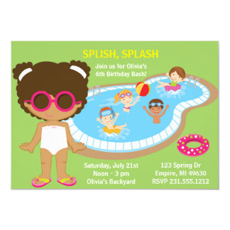 Summer Pool Party African American Girls Birthday Card