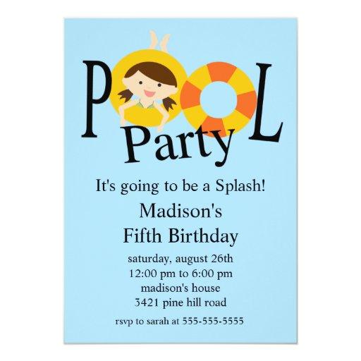 Summer POOL Party Birthday Invitation