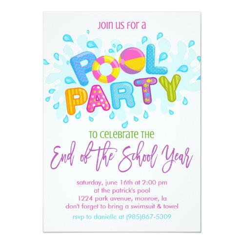 Summer Pool Party, End of the School Year Party Invitation