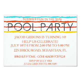 Summer Pool Party Fun In The Sun Invitation