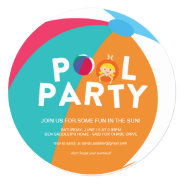 Summer Pool Party 5.25x5.25 Square Paper Invitation Card at Zazzle