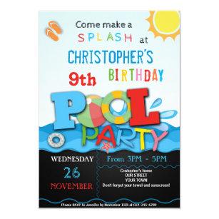 pool birthday invitations zazzle