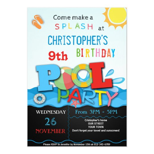 summer pool party invitation pool birthday party zazzle com
