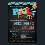 "SUMMER POOL PARTY INVITATION | POOL BIRTHDAY PARTY<br><div class=""desc"">Printable Summer Pool Party Invitation for Boys. &#160;Set on a chalkboard background with colorful summer pool elements,  blue  water waves and beach ball. Perfect for a Birthday Party outside with closest friends.</div>"