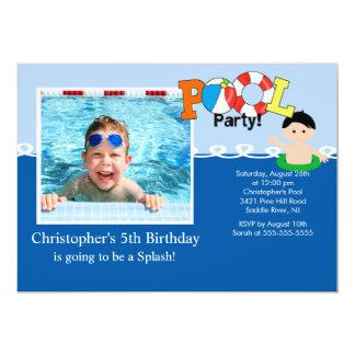 "Summer POOL Party PHOTO Birthday Invitation 5"" X 7"" Invitation Card"