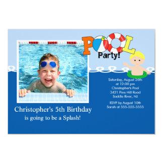 Summer POOL Party PHOTO Birthday Invitation