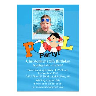 "Summer POOL Party PHOTO Birthday Invitation boy 5"" X 7"" Invitation Card"