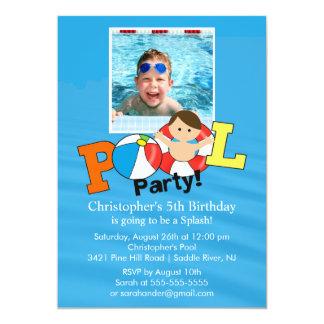 Summer POOL Party PHOTO Birthday Invitation Boy