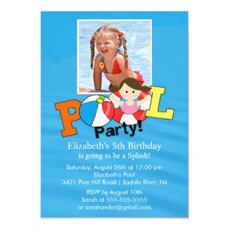 Summer POOL Party PHOTO Birthday Invitation Girl