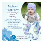 "Summer Pool Party | Photo Birthday Party Invites 5.25"" Square Invitation Card"