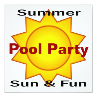 Summer Pool Party Sun and Fun 5.25x5.25 Square Paper Invitation Card