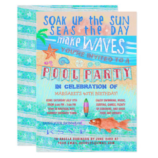 Summer Pool Party Swimming Fun Sea Fish and Beach Card