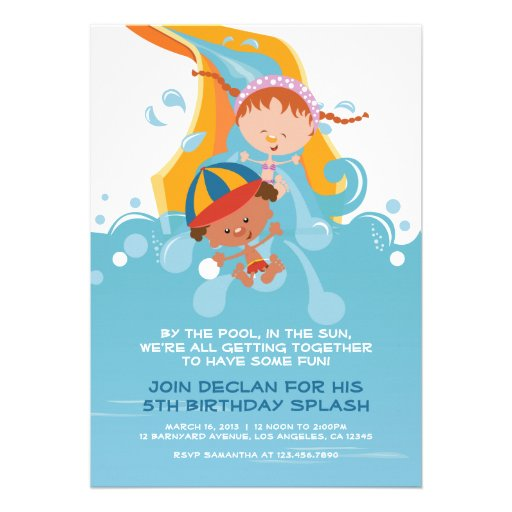 Personalized Water park party Invitations – Park Birthday Invitations