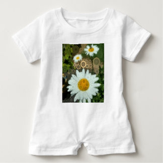 Summer Pop Art Concentric Circles Daisy Baby Baby Romper