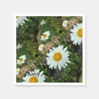 Summer Pop Art Concentric Circles Daisy Party Paper Napkin