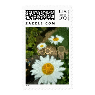 Summer Pop Art Concentric Circles Daisy postage