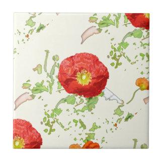 Summer poppies custom ceramic tile