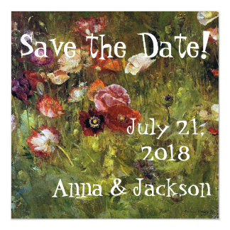 Summer Poppy Flowers Save Date Magnetic Card