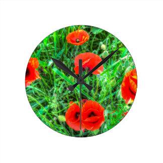 Summer Poppy Round Clock