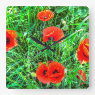 Summer Poppy Square Wall Clock