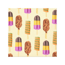 Summer Popsicle Treat Dessert Pattern Canvas Print