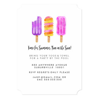 Summer Popsicles Ice Cream Pool Party Invite